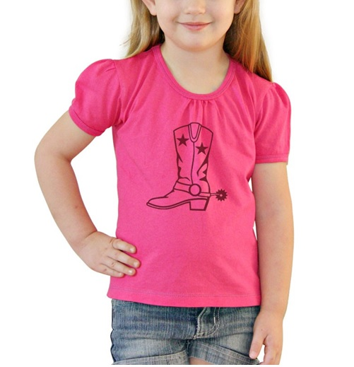 Girls Tee Hot Pink Boot – Size 0 - Size 6