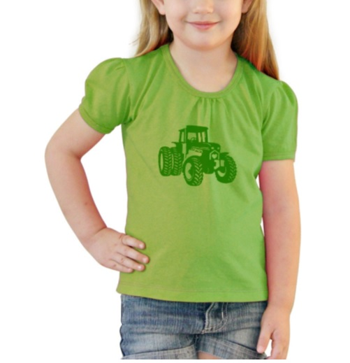 Girls Tee Lime Tractor – Size 0 - Size 6